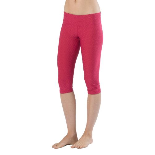 Womens Prana Misty Knicker Capri Tights - Boysenberry Jacquard M