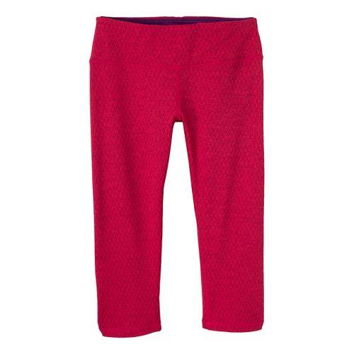 Womens Prana Misty Knicker Capri Tights - Pink Berry/Diamond M