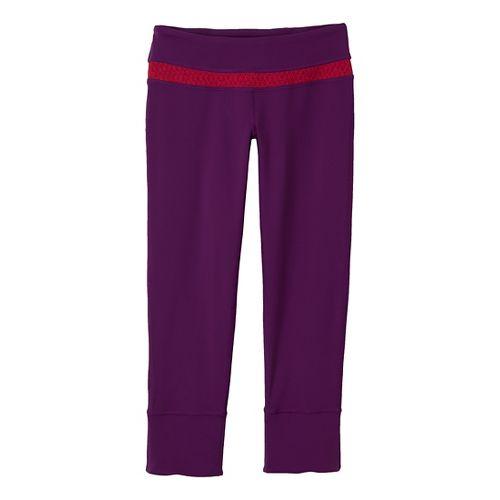 Womens Prana Clover Capri Tights - Red Violet/Diamond L