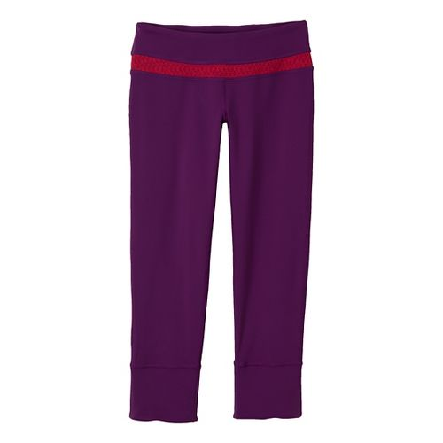 Womens Prana Clover Capri Tights - Red Violet/Diamond XL