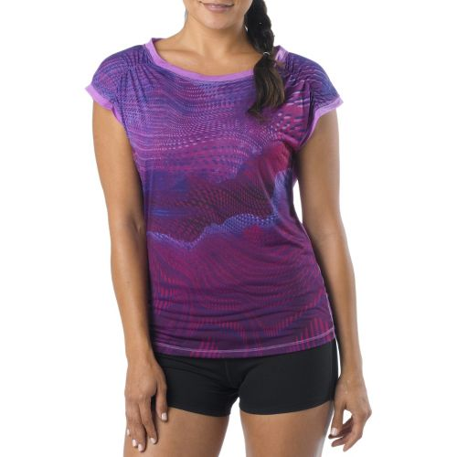 Womens Prana Electra Tee Short Sleeve Technical Tops - Boysenberry XL