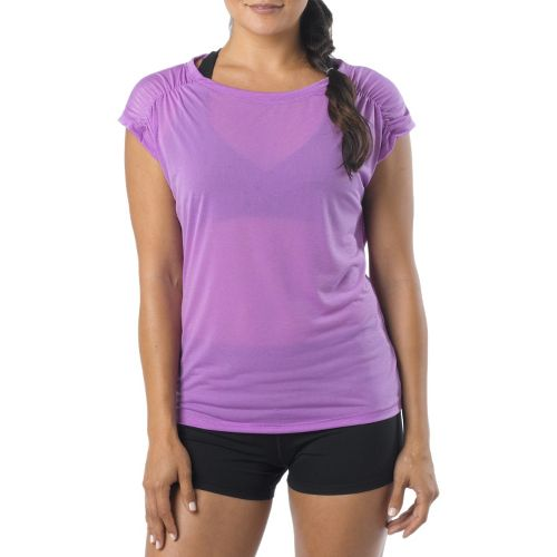 Womens Prana Electra Tee Short Sleeve Technical Tops - Dewberry L