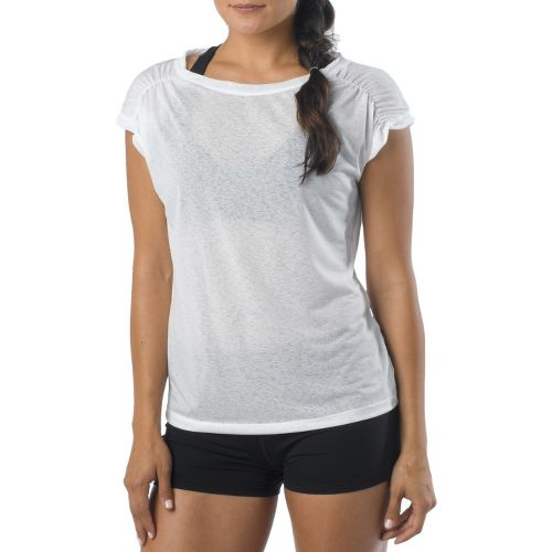 Womens Prana Electra Tee Short Sleeve Technical Tops - White XL
