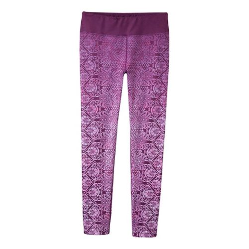 Womens Prana Roxanne Printed Legging Fitted Tights - Red/Violet XS