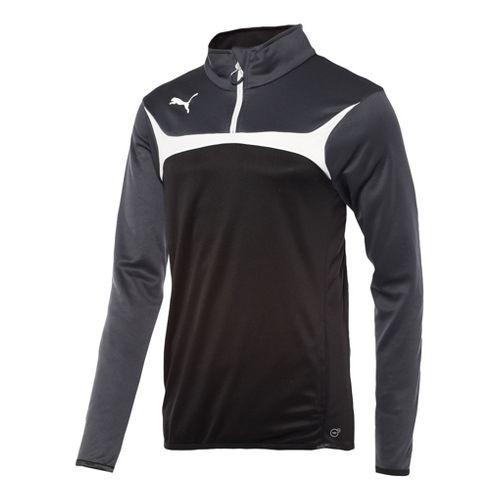 Mens Puma Esito 3 Training Jacket Long Sleeve 1/4 Zip Technical Tops - Black/White L ...