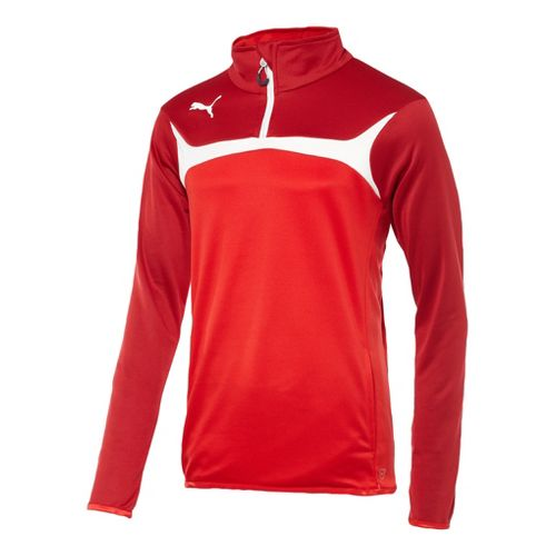 Mens Puma Esito 3 Training Jacket Long Sleeve 1/4 Zip Technical Tops - Red/White M ...