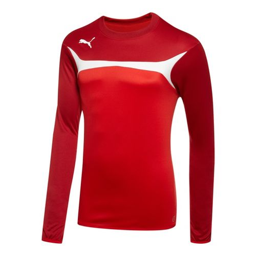 Mens Puma Esito 3 Training Sweat Long Sleeve No Zip Technical Tops - Red/White M ...