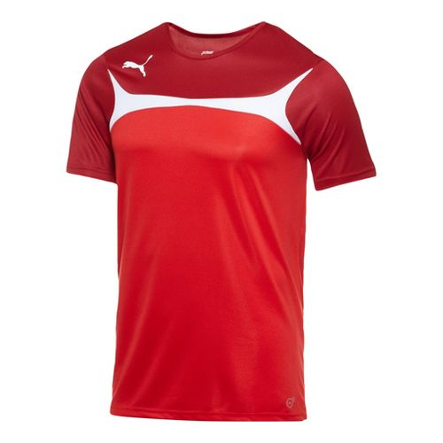 Mens Puma Esito 3 Training Short Sleeve Technical Tops - Red/White L