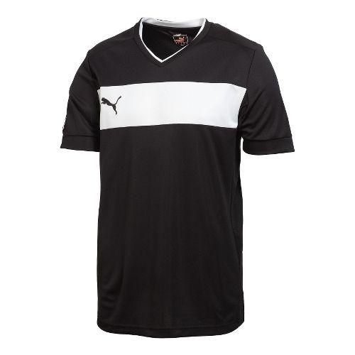 Kids Puma PowerCat 3.12 Shirt Short Sleeve Technical Tops - Black/White L