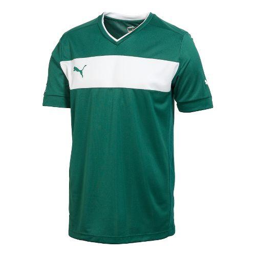 Kids Puma PowerCat 3.12 Shirt Short Sleeve Technical Tops - New USA Forest/White L
