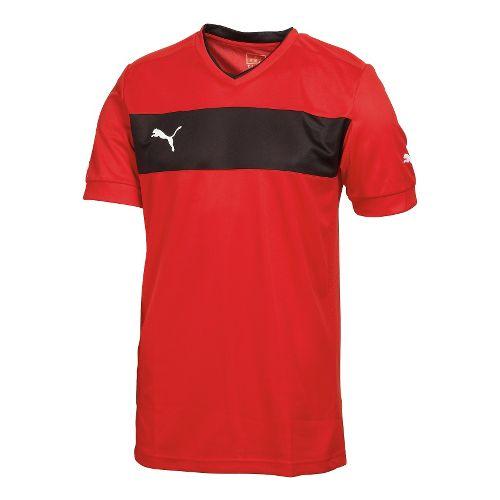 Kids Puma PowerCat 3.12 Shirt Short Sleeve Technical Tops - Red/Black XL