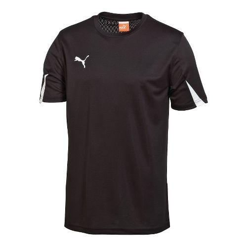 Kids Puma Team Shirt Short Sleeve Technical Tops - Black/White L