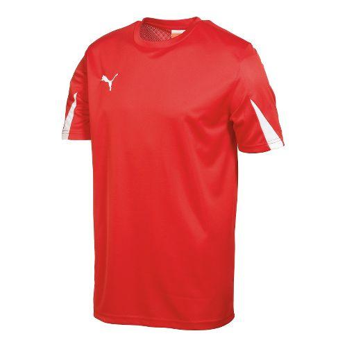 Kids Puma Team Shirt Short Sleeve Technical Tops - Red/White L