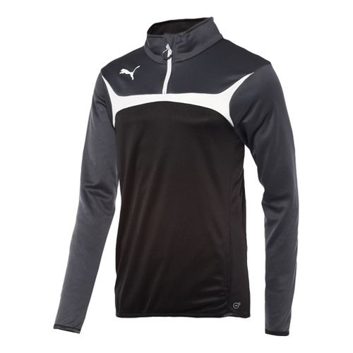 Kids Puma Esito 3 Training Jacket Long Sleeve 1/2 Zip Technical Tops - Black/White L ...