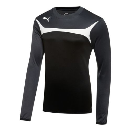 Kids Puma Esito 3 Training Sweat Long Sleeve No Zip Technical Tops - Black/White L ...