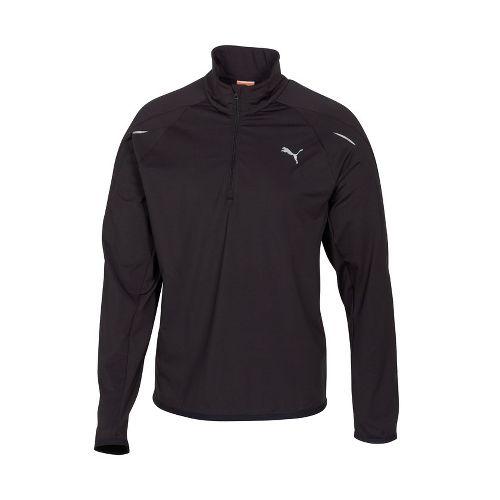 Mens Puma Race LS Long Sleeve 1/2 Zip Technical Tops - Black M