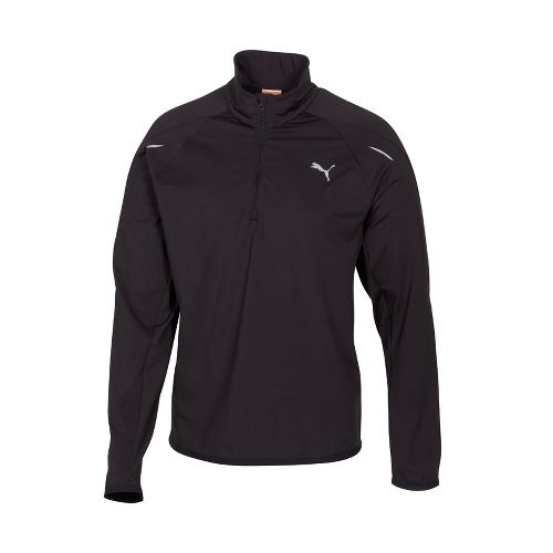 Mens Puma Race LS Long Sleeve 1/2 Zip Technical Tops - Black S