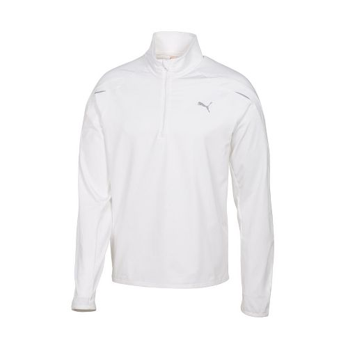 Mens Puma Race LS Long Sleeve 1/2 Zip Technical Tops - White L