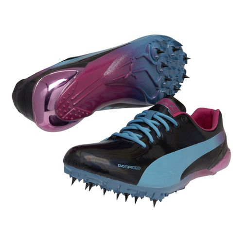 Mens Puma Bolt Evospeed Electric Spike Track and Field Shoe - Black/Beetroot Purple 6.5