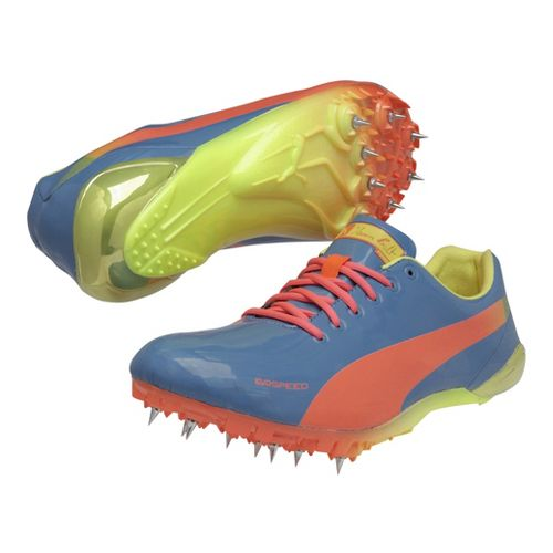 Mens Puma Bolt Evospeed Electric Spike Track and Field Shoe - Metallic Blue/Fluro Peach 9 ...