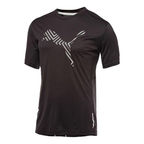 Mens Puma Pure Nightcat T-Shirt Short Sleeve Technical Tops - Black/Black XL