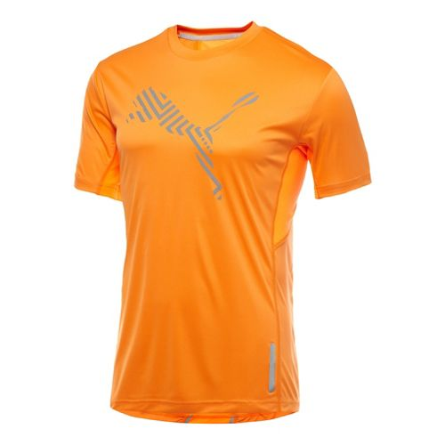 Mens Puma Pure Nightcat T-Shirt Short Sleeve Technical Tops - Fluro Evo Peach S