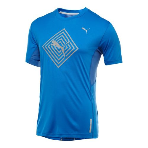 Mens Puma Pure Nightcat T-Shirt Short Sleeve Technical Tops - Victoria Blue L