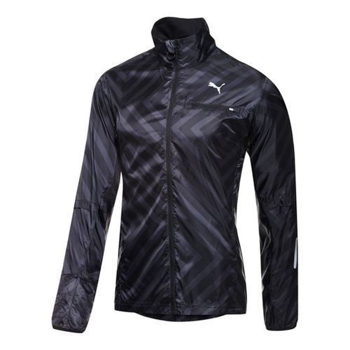 Mens Puma Graphic Lightweight Running Jackets - Black S