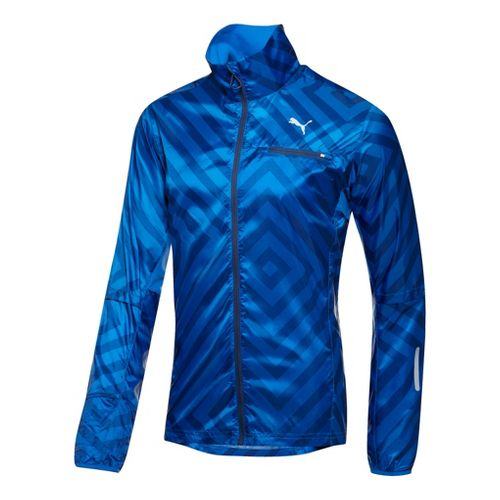 Mens Puma Graphic Lightweight Running Jackets - Victoria Blue M