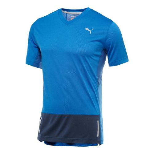 Mens Puma Progressive Trend T-Shirt Short Sleeve Technical Tops - Victoria Blue L