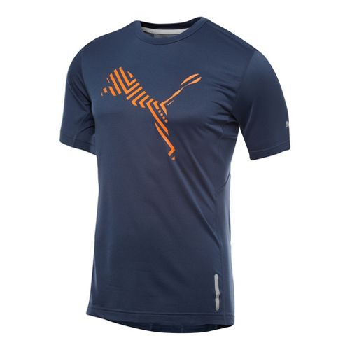 Mens Puma Graphic 1up T-Shirt Short Sleeve Technical Tops - Insignia Blue L