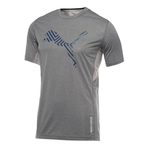 Mens Puma Graphic 1up T-Shirt Short Sleeve Technical Tops - Medium Grey Heather L