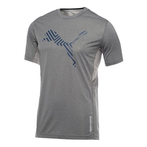 Mens Puma Graphic 1up T-Shirt Short Sleeve Technical Tops - Medium Grey Heather S