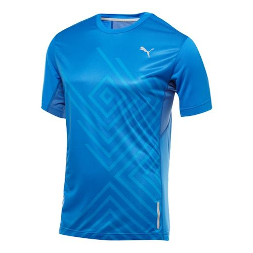 Mens Puma Graphic 1up T-Shirt Short Sleeve Technical Tops - Victoria Blue L