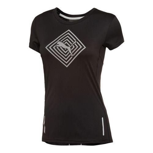 Womens Puma Pure NightCat Tee Short Sleeve Technical Tops - Black XL