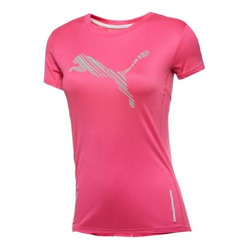 Womens Puma Pure NightCat Tee Short Sleeve Technical Tops - Beetroot Purple/Grey S