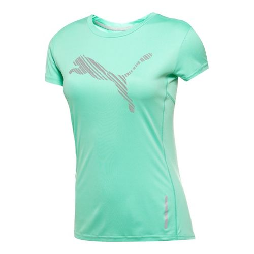 Womens Puma Pure NightCat Tee Short Sleeve Technical Tops - Electric Green L
