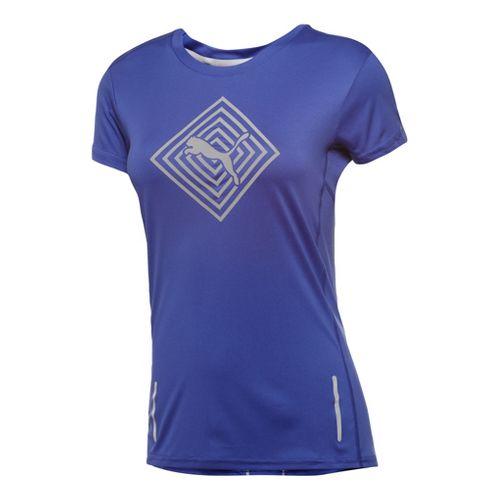 Womens Puma Pure NightCat Tee Short Sleeve Technical Tops - Spectrum Blue L