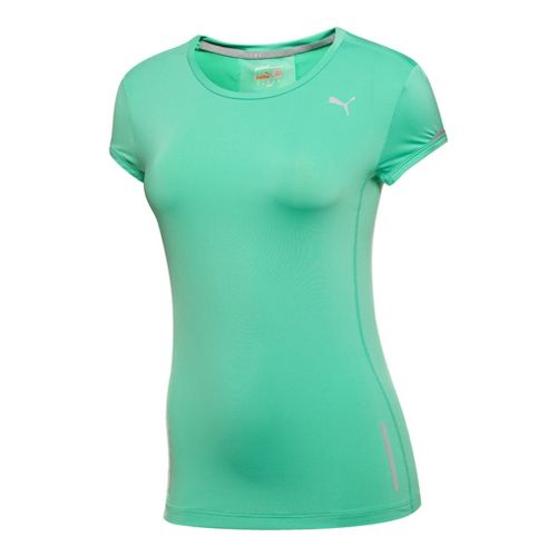 Womens Puma Pure Fitted T-Shirt Short Sleeve Technical Tops - Electric Green S