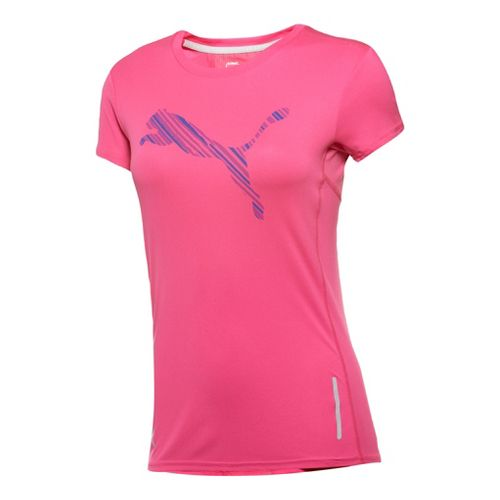 Womens Puma Graphic T-Shirt Short Sleeve Technical Tops - Beetroot Purple XS