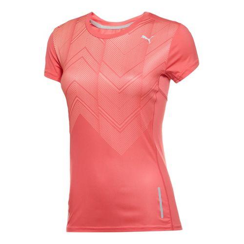 Womens Puma Graphic T-Shirt Short Sleeve Technical Tops - Calypso Coral XL
