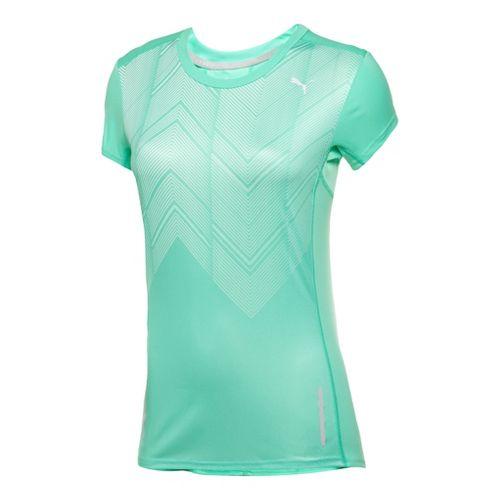 Womens Puma Graphic T-Shirt Short Sleeve Technical Tops - Electric Green L