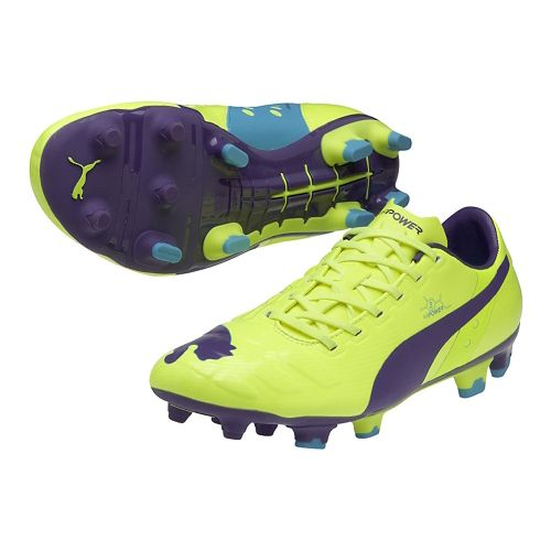 Mens Puma EvoPower 2 FG Track and Field Shoe - Flouro Yellow/Prism Violet 9.5
