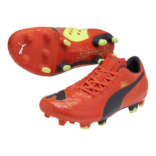 Mens Puma EvoPower 2 FG Track and Field Shoe - Fluo Peach/Ombre Blue 13