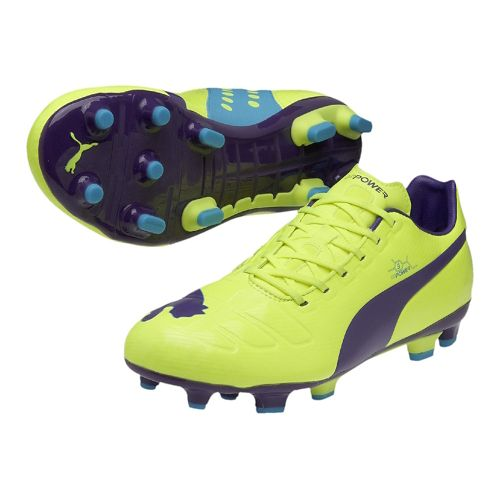 Mens Puma EvoPower 3 FG Track and Field Shoe - Flouro Yellow/Prism Violet 10.5