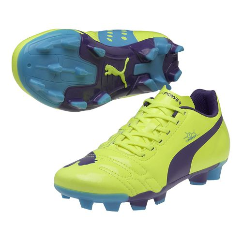 Kids Puma EvoPower 4 FG Jr. Track and Field Shoe - Flouro Yellow/Prism Violet 6 ...