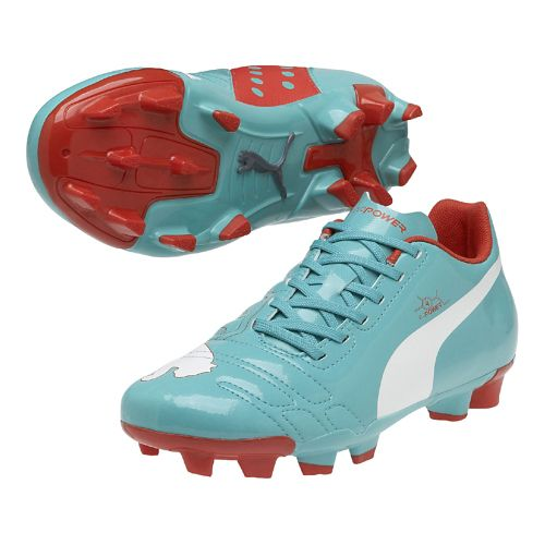 Kids Puma EvoPower 4 FG Jr. Track and Field Shoe - Pool Green/White 4