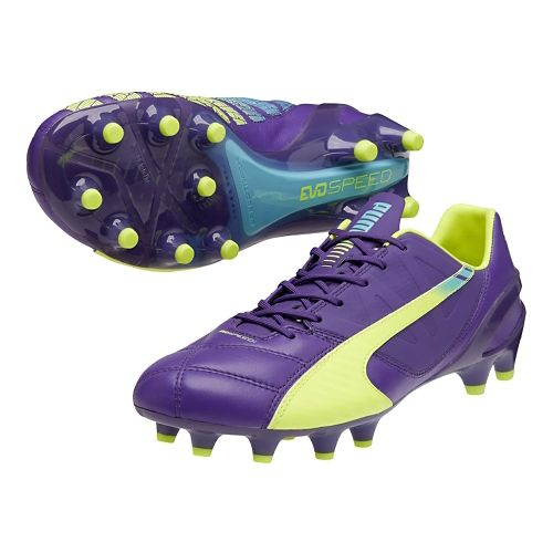 Mens Puma Evospeed 1.3 LTH FG Track and Field Shoe - Prism Violet/Flouro Yellow 8 ...