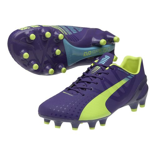 Womens Puma Evospeed 1.3 FG Track and Field Shoe - Prism Violet/Flouro Yellow 12.5