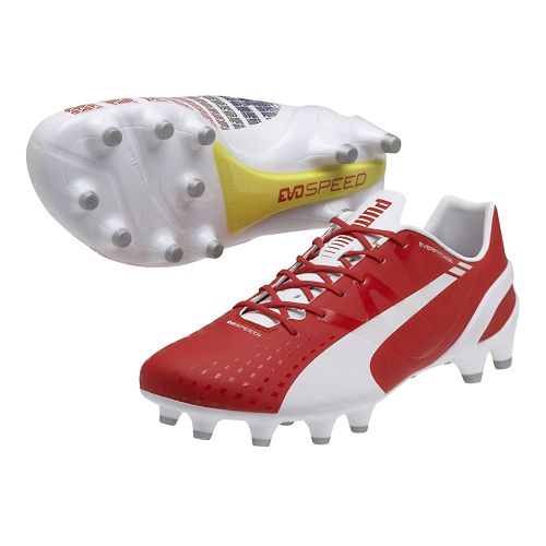 Womens Puma Evospeed 1.3 FG Track and Field Shoe - White/High Risk Red 7.5